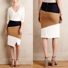 Split three color block Vintage magic linen wrap Skirt