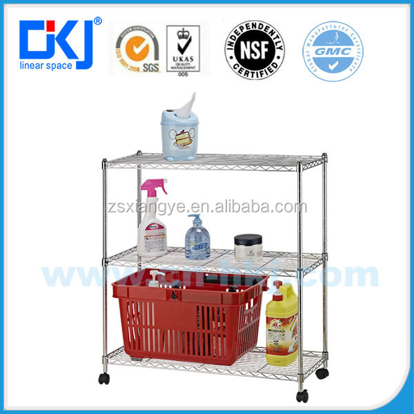 New type HKJ-C016 3-tier metal chrome plated wire shelving racks&Multi-function type