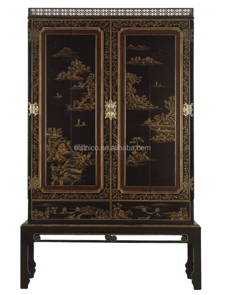 Chinese styel solid wood hand painted two doors wardrobe with drawers
