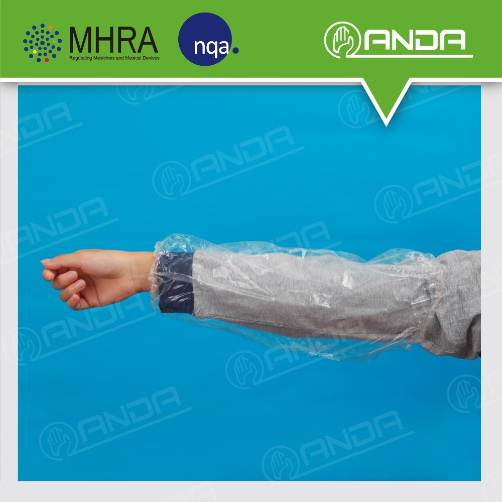 ADE002 clear plastic disposable waterproof pe arm cover