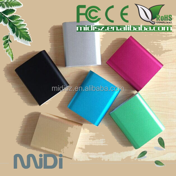 New cell phone accesorries mobile portable charger, ultra slim power bank 10400mAh with built in USB cable