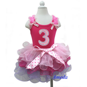 Girls Birthday Outfits - Pink Sleeveless Shirt Tank Top Number 3 & Lavender Pink MIni Skirt Tutu 1-7 Years