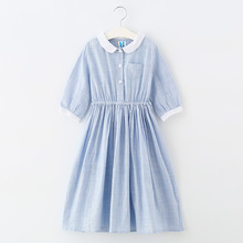 Fresh Style Middle Sleeve Navy Blue Kids Casual Dresses Stripe Fashion Teenage Child Clothes Korean Cotton Girls Dresses
