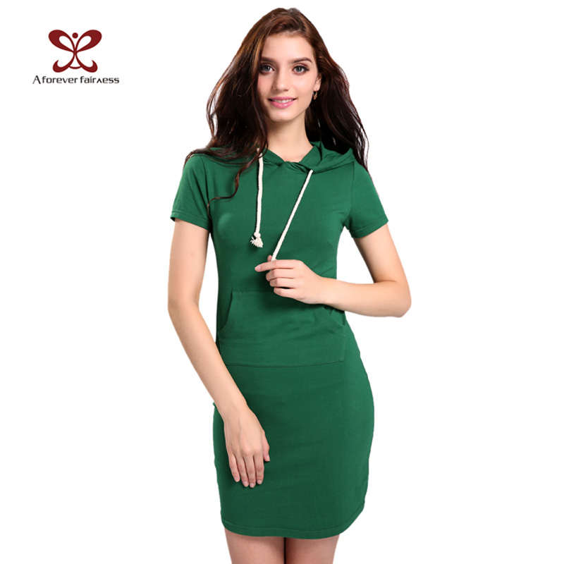 A Forever Fairness Green Hooded Cotton Summer Dresses Women