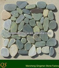 Sliced earth Pebble (Rice Cut)Polished Grey Pebbles 12 x 12 in mosaic tiles