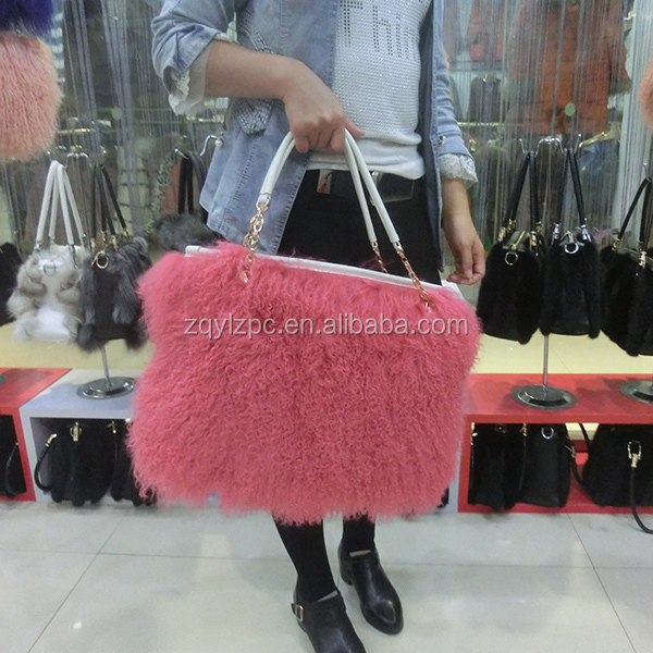 China wholesale genuine leather sheep <strong>bag</strong> Mongolian lamb real fur handbags for women