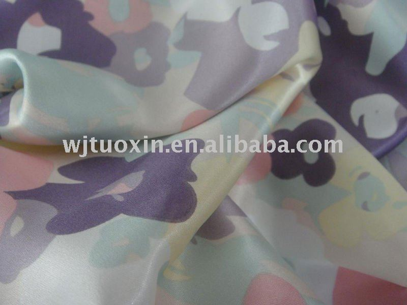 polyester printed stretch satin fabric/strech satin fabric