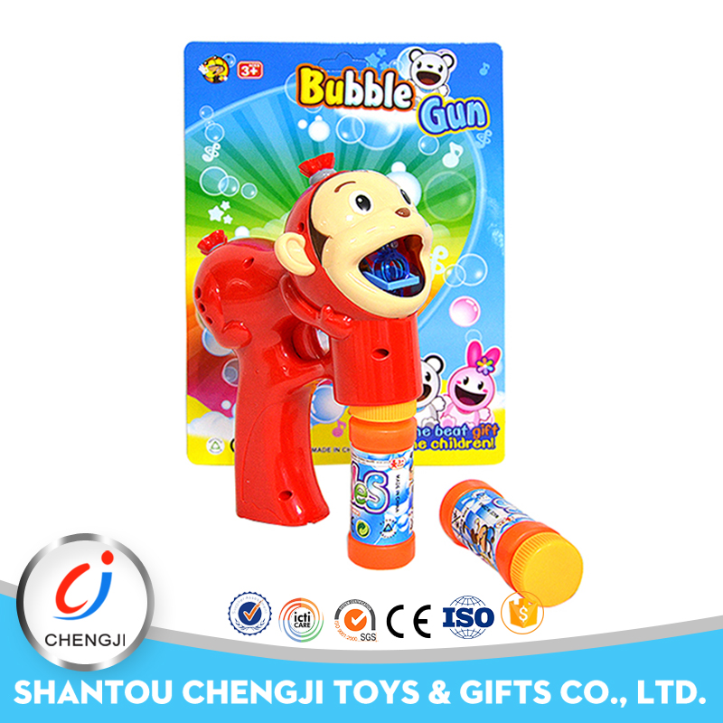 Amazing cartoon monkey plastic soap bubble shooter gun toy