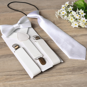 Wholesale prices factory supply pure white color bow ties and ties suspender set