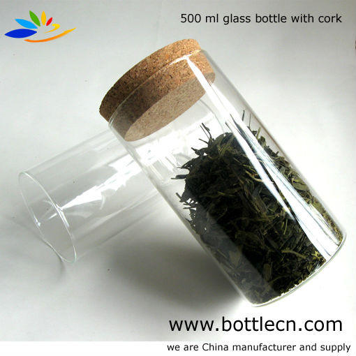 500ml clear glass bottle with cork d80 h150