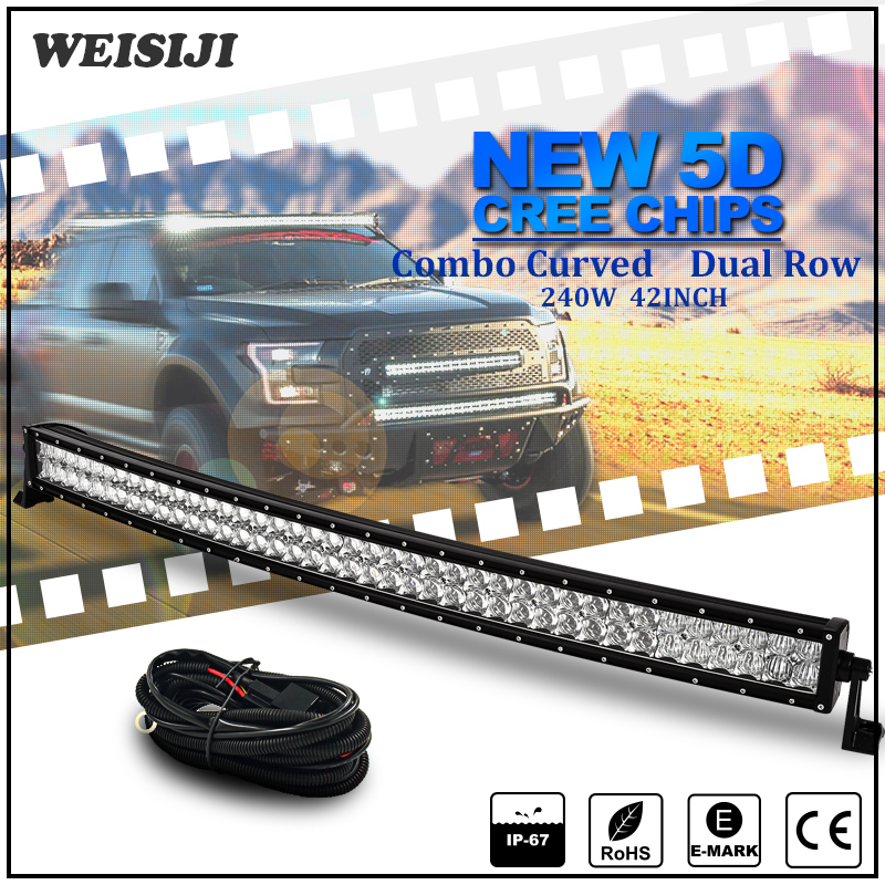 "41.5"" 42 inch off road cars led light bar,240w 5D curved led bar light"