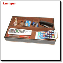 Homeware stitching PU leather storage box remote control holder