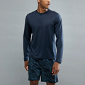 Overseas clothing manufacturer reaxion amp running top in navy marl with crew neck athletic shirt