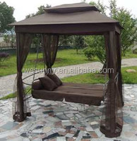 Popular gazebo swing bed with mosquito net parts for garden