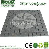 Star compass flamed granite paving stone