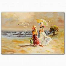 Wholesale abstract hot sexy beautiful beach nude foot girl scenery oil painting
