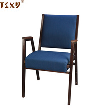 Low price metal frame armrest used dark blue iron padded stackable church seat chairs