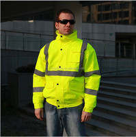 Fluorescent Fashion Safety Reflective Men's Winter Jacket Made In China