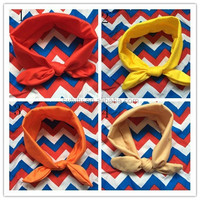 Promotion!!Cheap baby girls wrap knotted headbands halloween boutique girls handmade headbands solid color rabbit ear headbands