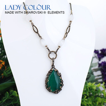W0358 Drop water Green Opal Necklace Zinc Alloy 18K Champagne gold & Black Gun Plated With Austria crystal New Jewelry Wholesale