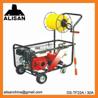Hand-push trolly power sprayer with 4 wheels