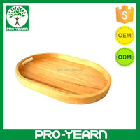 Oval Wooden Bamboo Food Serving Tray with Handles for Kitchenware Tableware and Barware for Home Restaurant and Bar