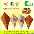 yellow wthite checked design paper cone hold french fry