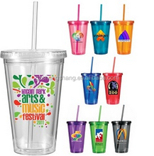 16oz double wall plastic drinking cup with straw and lid