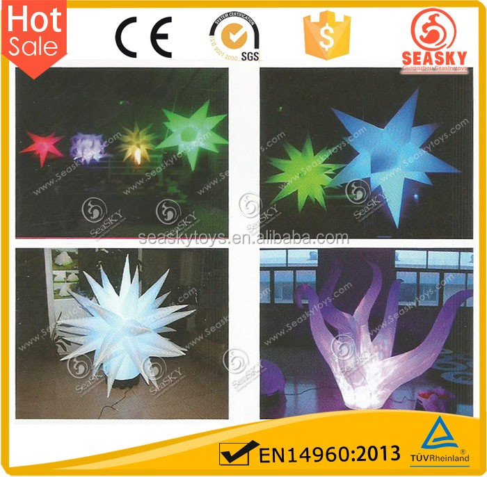 New color 1m dia/2m dia christmas wedding inflatable led star for party
