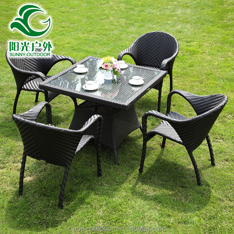 Synthetic style rattan coffee set leisure ways patio furniture in cheap price