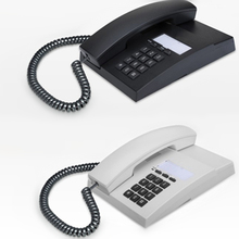 Stationary Land Line Desktop Phone for Home - Square Button - Black - White