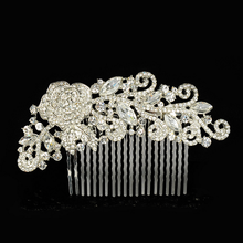 Factory Direct Sale New Design Elegant Crystal Flowers Leaves Hair Combs for Women
