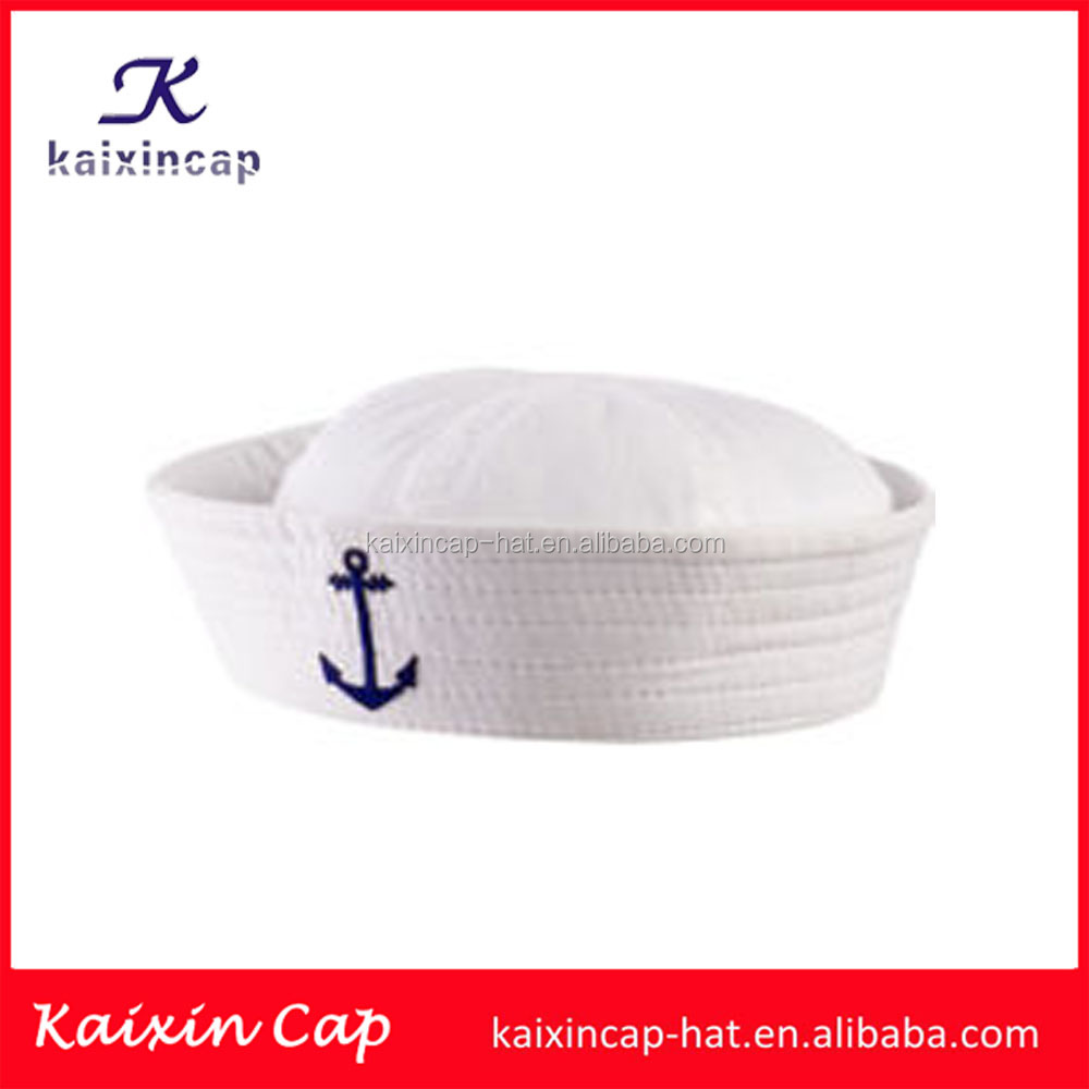2016 custom design high quality white embroidered sailor hat