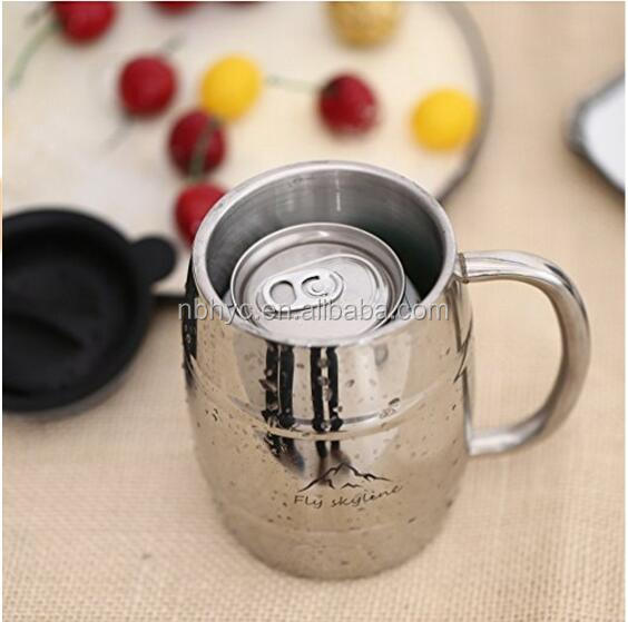 Stainless steel barrel stein beer mug with lid and handle,stainless steel beer stein, Double wall keep hot and cold coffee mug