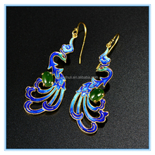 Yiwu wholesale 925 sterling silver gold inlaid jewels jade phoenix Enamel Cloisonne Earrings