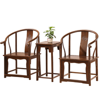 Armchair living room furniture wenge tea table three-piece/Fauteuil/round-backed wooden armchair
