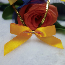 High-end Flat Satin Ribbon Bow With Wire Twist Tie For Decoration