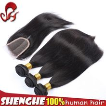hot sell top grade double weft hair bundles factory price hair peruvian with closure