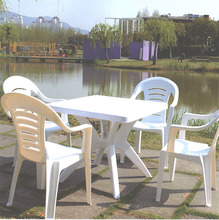 High quanlity factory price 4 seater plastic out door furniture table with hole in the middle for umbrella