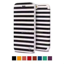 Wholesale price fashion stripe PU leather case for Apple iPhone 6 stand flip phone cover