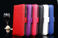 Man style Wallet Leather Case lichee pattern with card holder for iphone 5s stand leather case