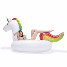 Rainbow color eco-friendly pool float inflatable unicorn for swimming pool