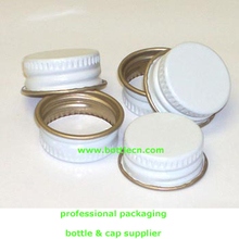 18-400 white threads knurls & curl tin-plate steel metal continuous thread cap with pulp poly liner