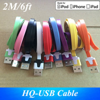 100 piece/lot High quality 2M/6FT Flat Noodle USB Charger Data Sync cable for iPhone 5 5S 5G 6 6s 6Plus 8 pin cord charging Line
