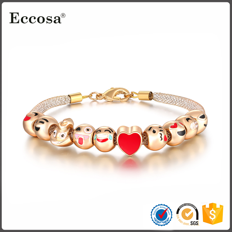 2017 Trending Products Online Wholesale Jewelry 18K Gold Emoji Charm Mesh Bead Bracelet With Crystal