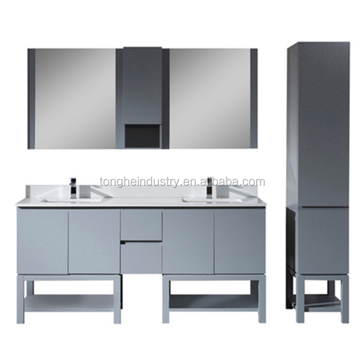 72'' North American style bath vanity set hotel project custom grey double bathroom vanity with tall linen cabinet