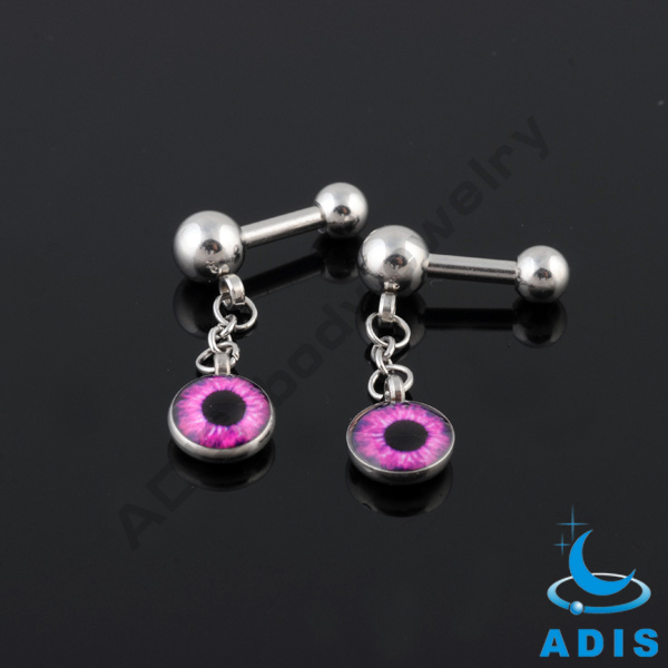 stainless steel ear tragus ball barbell piercing dangling eye logo expoxy