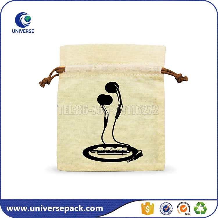mini drawstring cotton muslin pouches with printing