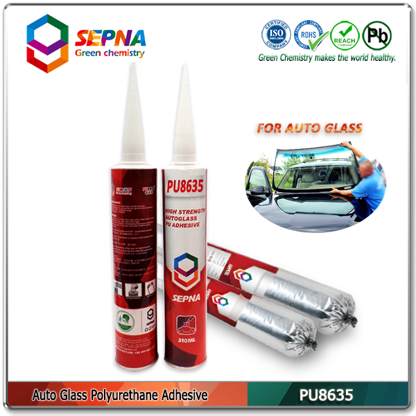 PU8635 No bubbles and black water PU adhesive under high temperature/ no smell auto glass sealant for bus side glass