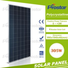 Full certifications TUV/ MCS/ UL/ CE/ ISO/ CEC/ PV CYCLE with High efficiency PV solar panel 24V 305W for home use system